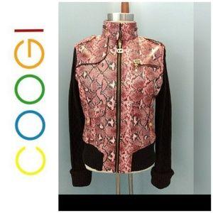 COOGI Jacket Sweater Faux Snakeskin